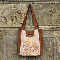 Cotton shoulder bag, 'Cheerful Kitties' - Thai Cotton Shoulder Bag Cats Playing in Browns