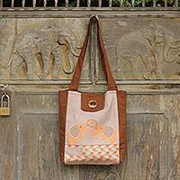 Cotton shoulder bag, 'Sweet Family' - Playful Elephants on Brown Thai Cotton Shoulder Bag