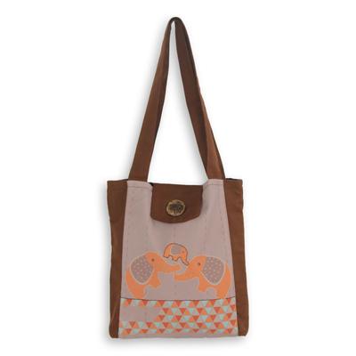 Cotton shoulder bag, 'Sweet Family' - Playful Elephants on Brown Thai Cotton Shoulder Bag
