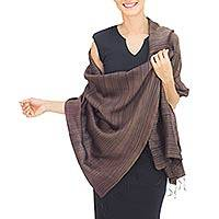 Silk and cotton blend batik shawl, 'Romance in Umber' - Women's Woven Silk and Cotton Striped Shawl in Umber