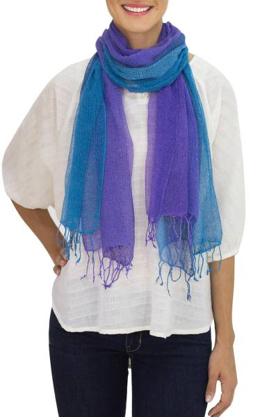 Silk scarves, 'Cool Stream' (pair) - Handmade Blue and Purple Open Weave Silk Scarves (Pair)