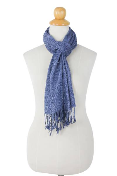 Raw silk scarf, 'Essential Blue' - Medium Blue Woven All-Silk Scarf Handmade by Thai Artisan