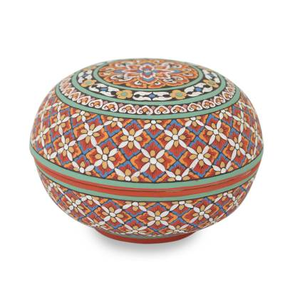 Colorful Artisan Hand-Painted Round Celadon Jewelry Box