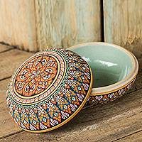 Celadon ceramic jewelry box, 'Thai Temptation' - Fair Trade Thai Painted Celadon Ceramic Round Jewelry Box