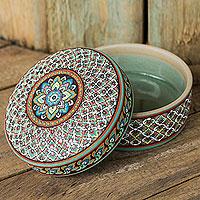 Celadon ceramic jewelry box, 'Thai Bliss' - Colorful Hand Painted Ceramic Jewelry Box from Thailand