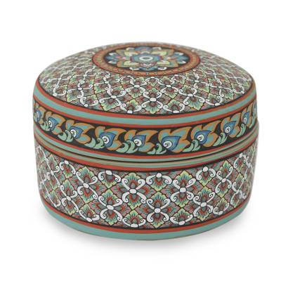 Celadon ceramic jewelry box, 'Thai Bliss' - Colorful Hand Painted Ceramic Jewelry Box from Thailand