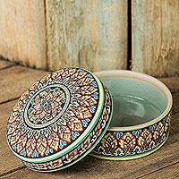Celadon ceramic jewelry box, 'Thai Royale' - Intricately Painted Round Ceramic Jewelry Box with Lid