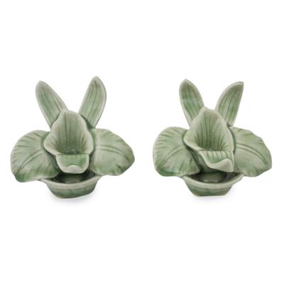 Celadon ceramic candleholders, 'Thai Jade Orchids' (pair) - Green Celadon Ceramic Orchid Shaped Candle Holders (Pair)