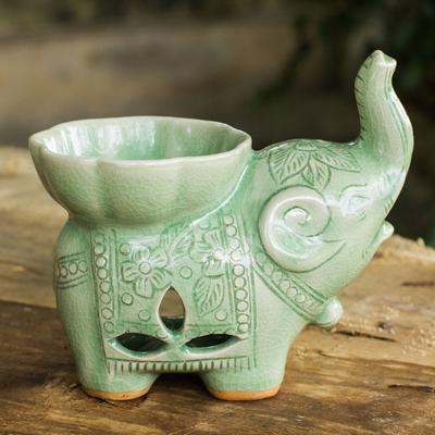 a3d865b910e Handmade Light Green Celadon Ceramic Elephant Oil Warmer - Time to ...