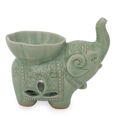 Handmade Light Green Celadon Ceramic Elephant Oil Warmer