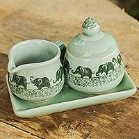 Celadon ceramic cream and sugar set, 'Elephants on Parade' - Elephant Cream and Sugar Set in Green Celadon Ceramic