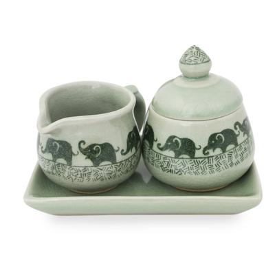 Elephant Cream and Sugar Set in Green Celadon Ceramic ...