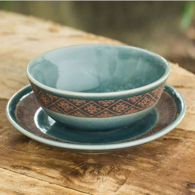 Celadon ceramic bowl and plate set, 'Thai Weave Inspiration' - Ceramic Bowl and Plate Set with Blue Glaze from Thailand