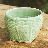 Celadon ceramic vase, 'Basket' (small) - Light Green Celadon Ceramic Vase with Basket Shape (Small)