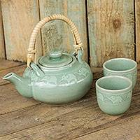 Celadon ceramic tea set, 'Warm Elephants' (set for 2) - Handmade Tea Set Made of Green Celadon Ceramic (Set for 2)