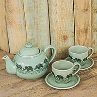 Celadon ceramic tea set, 'Happy Elephants' (set for 2) - Elephant Themed Green Celadon Ceramic Tea Set (Set for 2)