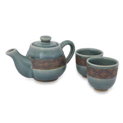 Celadon ceramic tea set u0027Thai Weave Inspirationu0027 (set for 2) -  sc 1 st  NOVICA & Blue Celadon Tea Set Handmade in Thailand (Set for 2) - Thai Weave ...