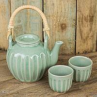 Celadon ceramic tea set, 'Thai Jade' (set for 2) - Handmade Thai Ceramic Tea Set in Green Celadon (Set for 2)