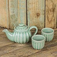 Celadon ceramic tea set, 'Thai Mint' (set for 2) - Ridged Green Ceramic Teapot and Teacup Set (Set for 2)