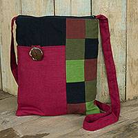 Cotton shoulder bag, 'Lanna Rhythm in Red' - Red and Multicolor Patchwork All Cotton Thai Shoulder Bag