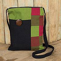 Cotton shoulder bag, 'Lanna Rhythm in Black' - Handmade Black and Multicolor Cotton Shoulder Bag