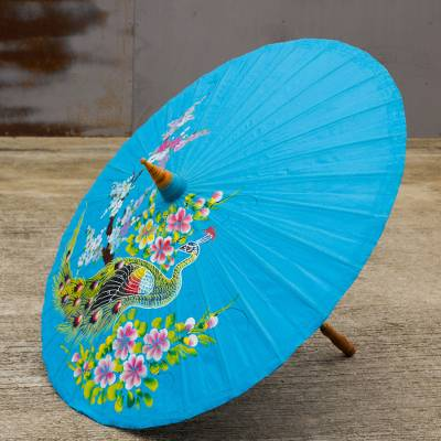 Cotton and bamboo parasol, 'Charming Peacock' - Unique Handpainted Cotton and Bamboo Decorative Parasol