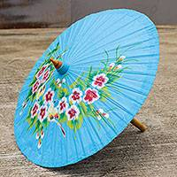 Cotton and bamboo parasol, 'Thai Sakura' - Artisan Crafted Blue Cotton Parasol with Handpainted Flowers