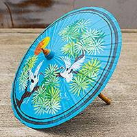 Cotton and bamboo parasol, 'Egrets' - Colorful Cotton and Bamboo Parasol with Egret Motif