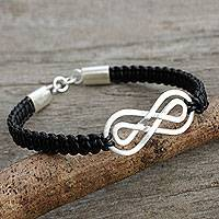 Sterling silver pendant bracelet, 'Double Infinity' - Black Leather Macrame Bracelet with Silver Infinity Pendant