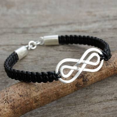 Sterling silver pendant bracelet, 'Double Infinity' - Black Leather Macrame Bracelet with Silver Infinity Pendant
