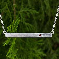 Garnet bar pendant necklace, 'Simple Devotion' - Brushed Sterling Silver and Garnet Pendant Necklace