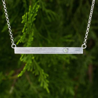 Sterling silver and peridot bar necklace, 'Simply Energy' - Peridot and Brushed Silver Bar Necklace from Thailand