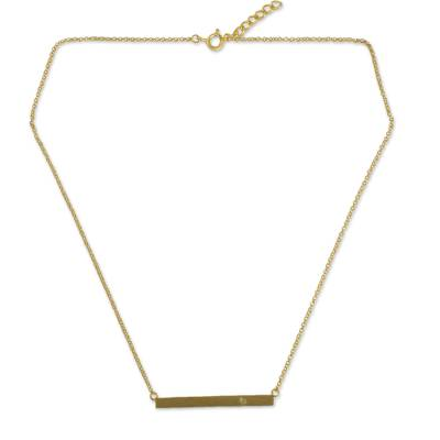 Gold vermeil peridot bar necklace, 'Simple Clarity' - Handmade Gold Vermeil Bar Necklace with Peridot