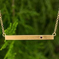 Gold vermeil garnet bar pendant necklace, 'Simple Compassion'