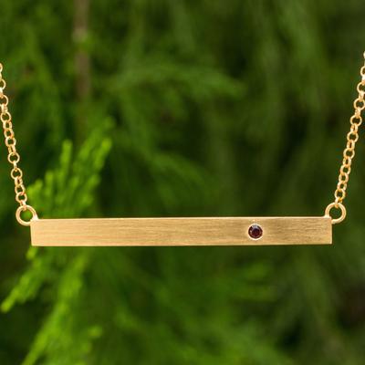 Gold vermeil garnet bar pendant necklace, 'Simple Compassion' - Fair Trade Pendant Necklace in Gold Vermeil with Garnet