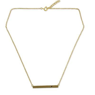 Gold vermeil garnet bar pendant necklace, 'Simple Compassion' - Fair Trade Pendant Necklace in Gold Vermeil with Garnet