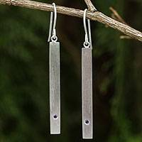 Amethyst bar earrings, 'Simple Wisdom' - Artisan Crafted Brushed Silver and Amethyst Dangle Earrings