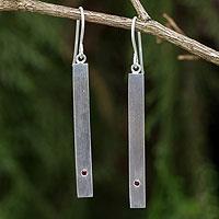 Garnet dangle bar earrings, 'Simple Devotion'