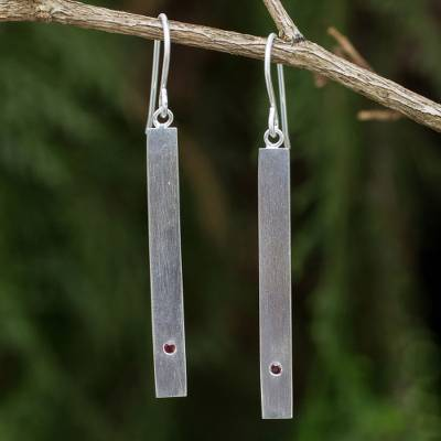 Garnet dangle bar earrings, 'Simple Devotion' - Contemporary Brushed Silver Earrings with Genuine Garnets