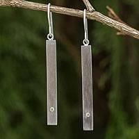 Peridot dangle bar earrings, 'Simple Energy' - Peridot and Brushed Silver Dangle Earrings from Thailand