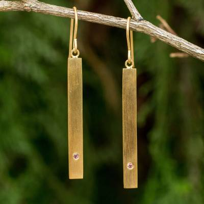 Gold vermeil tourmaline bar earrings, 'Simple Kindness' - Contemporary Pink Tourmaline and 24k Gold Vermeil Earrings