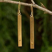 Gold vermeil citrine bar earrings, 'Simple Abundance' - Citrine and 24k Gold Plated Silver 925 Dangle Earrings