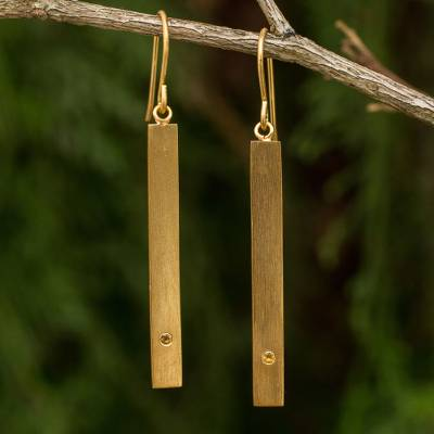 Gold vermeil citrine bar earrings, 'Simple Abundance' - Citrine and 24k Gold Plated Silver 925 Dangle Earrings
