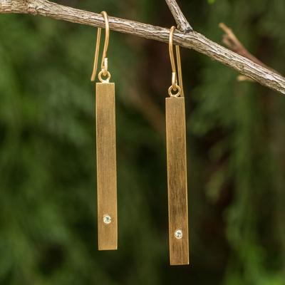 Gold vermeil peridot bar earrings, 'Simple Clarity' - Peridot Earrings set in 24k Gold Plated Sterling Silver
