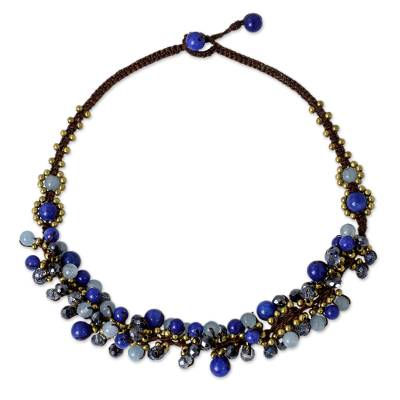 Blue Quartz and Brass Clusters on Hand Knotted Necklace
