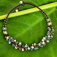 Beaded necklace, 'Azure Cattlelaya' - Yellow and Blue Quartz Beaded Necklace Knotted by Hand