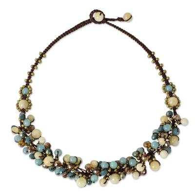 Yellow and Blue Quartz Beaded Necklace Knotted by Hand