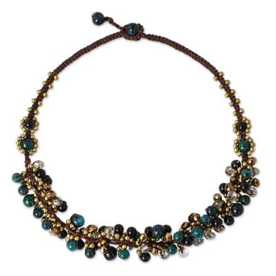 Beaded necklace, 'Verdant Cattlelaya' - Hand Knotted Beaded Necklace with Serpentine and Onyx