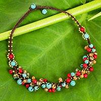 Beaded necklace, 'Blue Fire Cattlelaya' - Blue and Red Gemstone Clusters on Hand Knotted Necklace