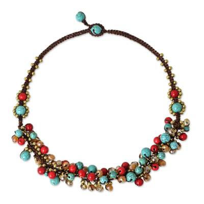 Blue and Red Gemstone Clusters on Hand Knotted Necklace